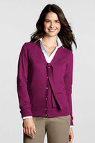 Lands' End Women's Regular Cotton Cashmere Tie V-neck Cardigan Sweater