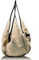Tylie Malibu Cream Leather Studded Underground Nomad Slouch Bag