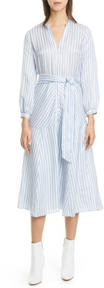 Veronica Beard Jenna Stripe Long Sleeve Midi Shirtdress