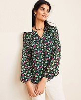 Ann Taylor Tall Floral Split Neck Smocked Sleeve Blouse
