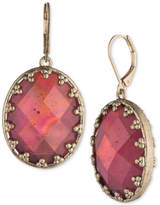lonna & lilly Gold-Tone Oval Faceted Stone Drop Earrings