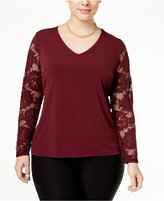 INC International Concepts Plus Size Lace-Sleeve Knit Top, Only at Macy's
