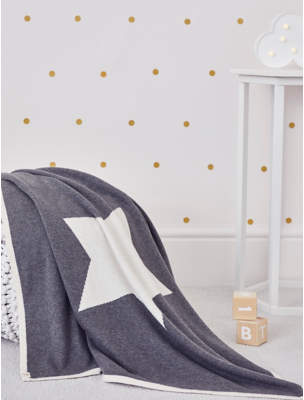 George Billie Faiers Reversible Cream and Grey Star Shawl