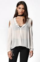 KENDALL + KYLIE Kendall & Kylie Sheer Ruffled Cold Shoulder Top