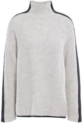 N.Peal Striped Ribbed Cashmere Turtleneck Sweater