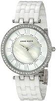 Anne Klein Women's AK/2130WTSV Swarovski Crystal Accented Silver-Tone and White Ceramic Bracelet Watch