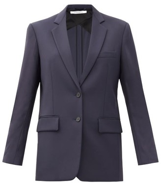 Another Tomorrow - Oversized Single-breasted Twill Jacket - Womens - Navy