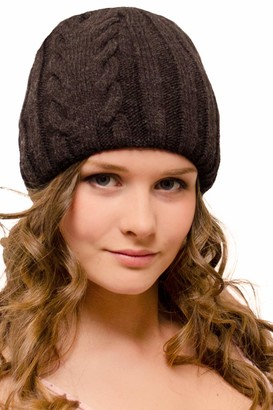 Entire Empire 50% Wool Two Layers Warm Knitted Winter Hat -Ladies Uncuffed Cuffless Thermal Beanie - Woolly Large Cap for Women Running Hiking Cycling Golf - Chunky Knit Chocolate Brown
