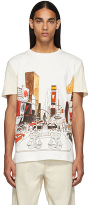 Lanvin White and Off-White Panel Babar NY T-Shirt
