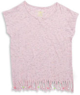 Planet Gold Girls 7-16 Fringe Heathered Tee