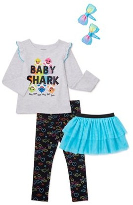 Franterd 2Pcs Baby Girl Clothes Sets Toddler Solid Black Tops T Shirt Elephant Long Harem Pants Dress Outfits