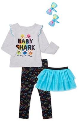 Baby Shark Baby Toddler Girl Long Sleeve Top, Tutu Skirt, Leggings & Headband, 4pc outfit set