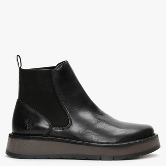 Fly London Raya Black Leather Chelsea Boots