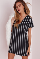 Missguided Petite Oversized V Neck Striped Shift Dress Black