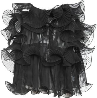 Alberta Ferretti Raw Ruffled Silk Chiffon Top