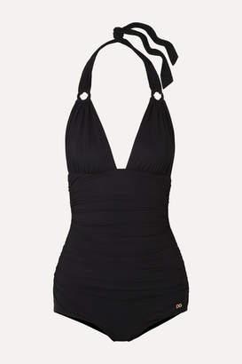 Dolce & Gabbana Ruched Halterneck Swimsuit - Black