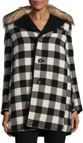 RED Valentino Women's Plaid Faux Fur Trimmed Coat