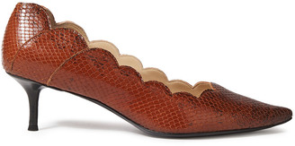 Chloé Scalloped Snake-effect Leather Pumps