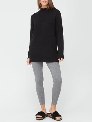 Very Turtle Neck Cable Side Detail Tunic - Black