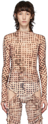 Charlotte Knowles Pink and Black Check Long Sleeve T-Shirt