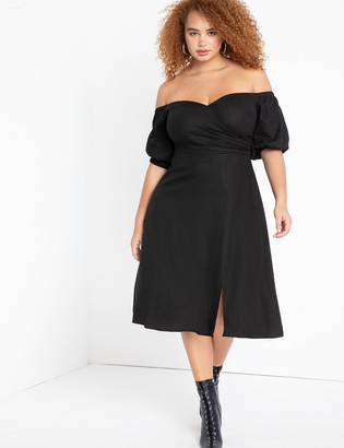 ELOQUII Sweetheart Linen Dress