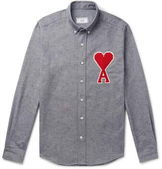 Ami Slim-Fit Button-Down Collar Appliqued Melange Brushed-Cotton Oxford Shirt