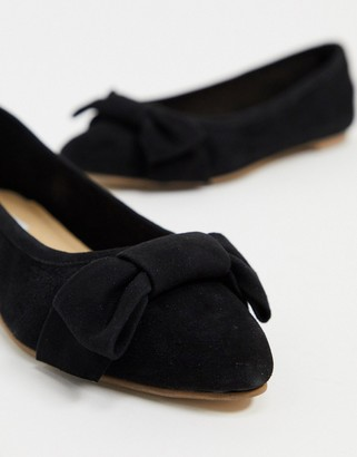 Steve Madden Kenny leather flat shoe with bow in black