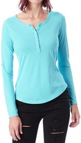 Alternative Apparel Rolled Sleeve Henley Shirt - Long Sleeve (For Women)
