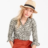 J.Crew Petite cotton-linen perfect shirt in leopard print