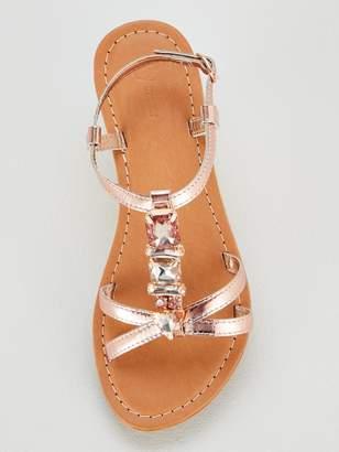 Very Honey Jewel Trim Leather Flat Sandals - Rose Gold