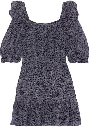 Rebecca Taylor Ruffled Metallic Printed Cotton-blend Mini Dress