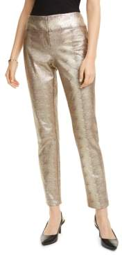 Alfani Tummy-Control Metallic Python-Print Trousers, Created For Macy's