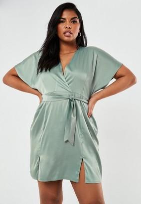 Missguided Plus Size Green Kimono Sleeve Wrap Skater Dress