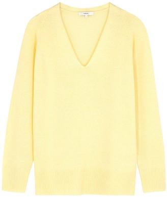 Vince Pale Yellow V-neck Wool-blend Jumper