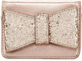 Neiman Marcus Glitter Bow-Embellished Snap Wallet, Rose Gold