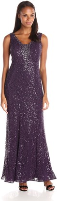 Ignite Women's Sequined Evening Gown with Embellished Neck Line