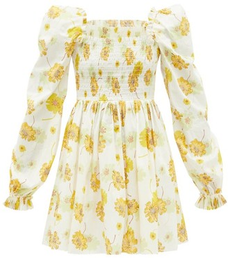 The Vampire's Wife The Frill Killer Liberty-print Cotton Mini Dress - Yellow White