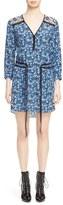 Veronica Beard Venice V-Neck Tie Waist Silk Dress