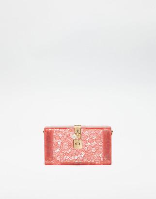 Dolce & Gabbana Dolce Box Clutch In Plexiglass And Lace