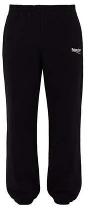 Balenciaga Logo-print Cotton-jersey Track Pants - Mens - Black