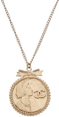 Chanel Silver-Tone Coco Cameo Necklace