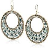 Miguel Ases Open Circle Miniature Floral Turquoise Hoop Drop Earrings