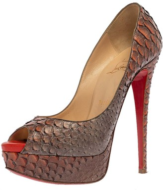 Christian Louboutin Grey/Orange Python Lady Peep Toe Platform Pumps Size 37