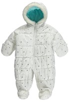 Carter's Carter Infant Girl White Silver Hearts Snowsuit Baby Bunting Pram Snow Suit 6-9m