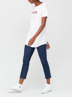 Very Paris On My Mind Longline T-shirt - White