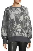 Rag & Bone Mesh Camo Crewneck Cotton Sweatshirt