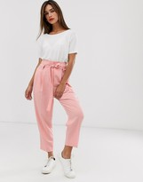 Asos Design DESIGN tailored tie waist tapered ankle grazer trousers