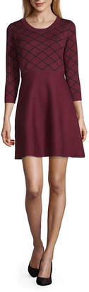 My Michelle Juniors 3/4 Sleeve Fit & Flare Dress