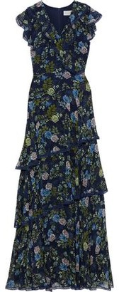 Mikael Aghal Tiered Lace-trimmed Floral-print Georgette Gown