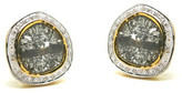 Tresor Collection - Diamond Slice with Pave Diamond Frame Stud Earrings in 18k Yellow Gold
